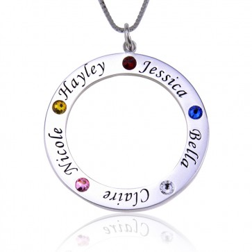 Custom Circle Engraved Necklace With Birthstone in Sterling Silver