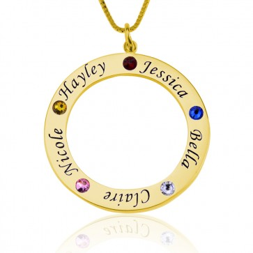 Engraved Circle Birthstone Necklace in Gold Plated