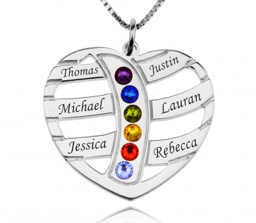 Heart Engraved Family Necklace With Birthstone