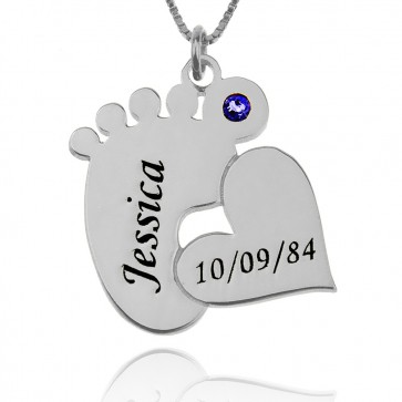 Baby Feet Name Necklace With Heart In Sterling Silver