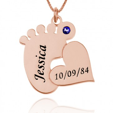 Rose Gold Plated Engraved Baby Feet Name Necklace With Heart