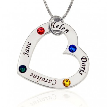 Personalizd Heart  Engraved Necklace With Birthstone in Sterling Silver