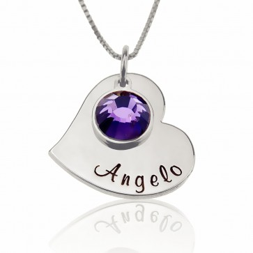 Heart Necklace With Any Names Engraved With Birthstone