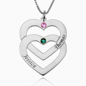 Sterling Silver 2 Hearts Engraved Necklace With Birthstone