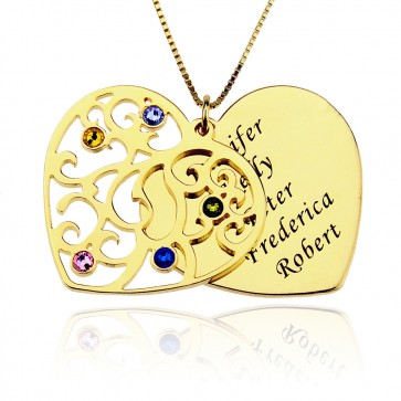 Gold Heart Necklace With Birthstone With Any Words Engraved
