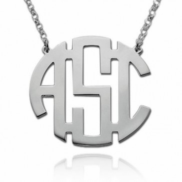 Sterling Silver Block Initial Monogram Necklace
