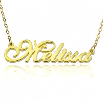 Custom Presto Script Name Necklace In Gold Plating