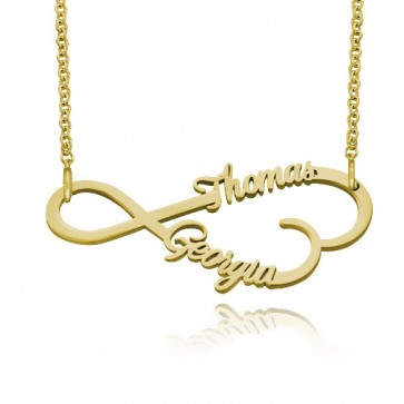 Personalized  Infinity Necklace With Two Names in Gold Plated