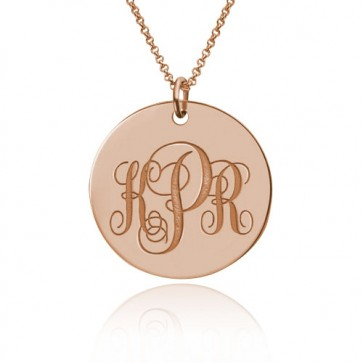 Circle Initial Monogram Disc Necklace in Rose Gold