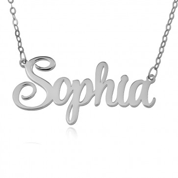 Personalized Script Style Name Necklace In Silver