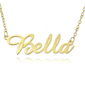 Personalized Amazone Script Name Necklace in 18k Gold