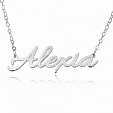 Sterling Silver Personalized Allura Script Name Necklace