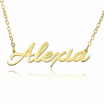 18k Gold Allura Script Name Necklace