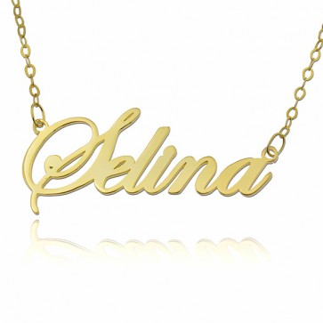 Personalized Script Style Name Necklace In 18k Gold