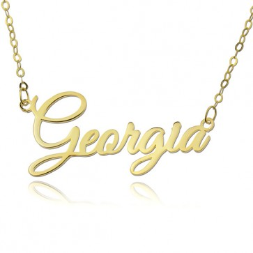 Personalized Cursive Name Necklace In 18k Gold Plated