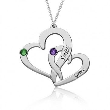 Interlocking Two Heart Necklace with Name and Birthstone