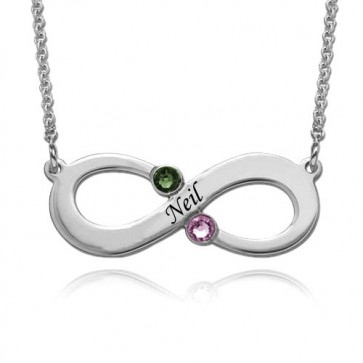 Customized Engraved Infinity Necklace With Two Birthstones in Sterling Silver