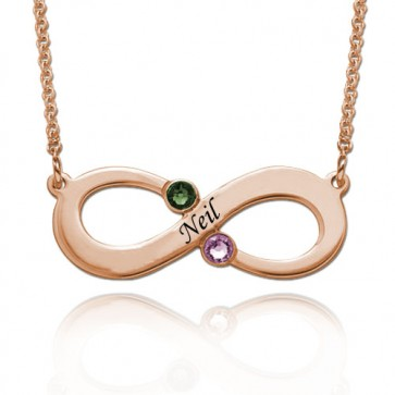 Personalized Engraved Infinity Necklace With Two Birthstones in Rose Gold Plated