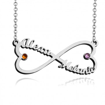 Customized Infinity Heart Necklace With Two Birthstones in Sterling Silver