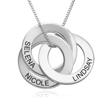 Russian Ring Necklace with 3 discs in Sterling Silver