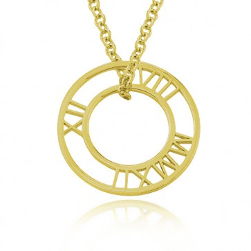 Gold Plated Circle Roman Numeral Necklace