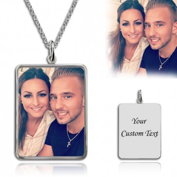 Rectangle Engraved Photography Necklace in Sterling Silver