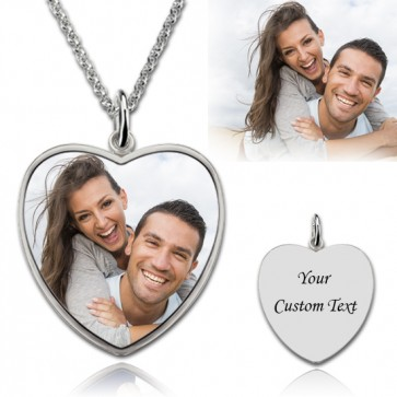 Heart Engraved Photography Necklace in Sterling Silver