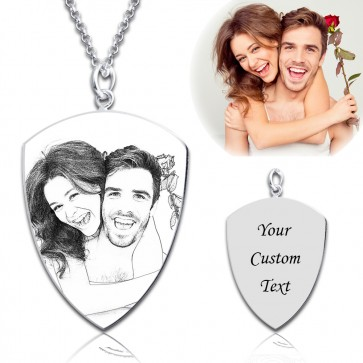 Shield Engraved Photo Necklace in Sterling Silver
