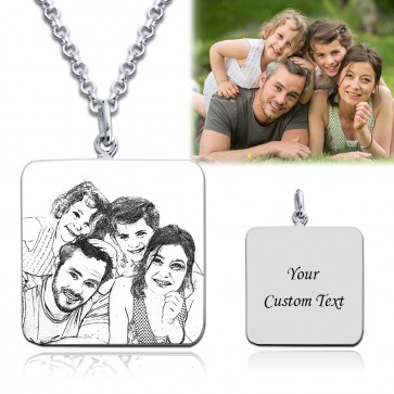 Square Engraved Photo Necklace in Sterling Silver
