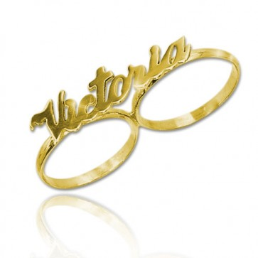 Two Finger Name Ring with Name in Gold