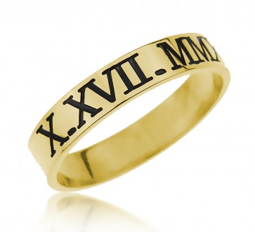 Engraved Roman Number Ring in Gold plated