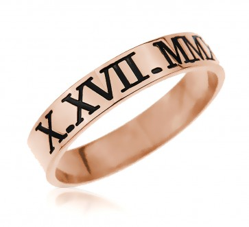 Rose Gold Plated Engraved Roman Numeral Ring