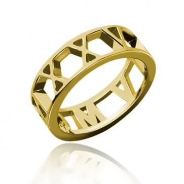 Roman Numeral Date Ring in Gold Plating