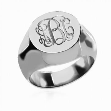 Sterling Silver Engraved Monogram Ring