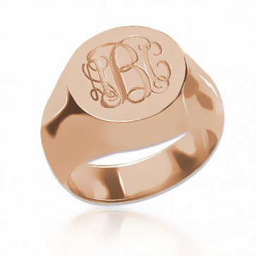 Customized  Engraved Monogram Ring  in Rose Gold Plated