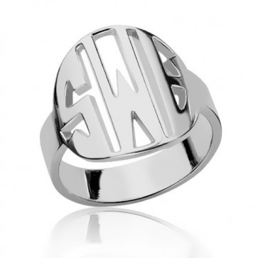 Sterling Silver Block Initials Monogram Ring