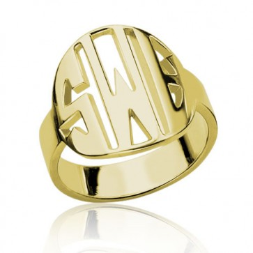 Gold Plated Block Initials Monogram Ring