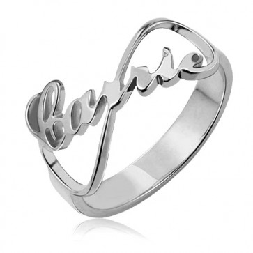 Personalized Infinity Name Ring Carrie Style in Sterling Silver