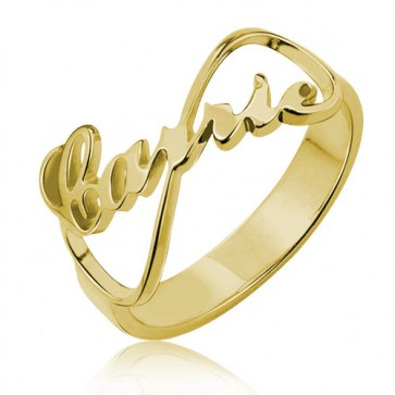 customized Infinity Name Ring Carrie Style in Gold Plated