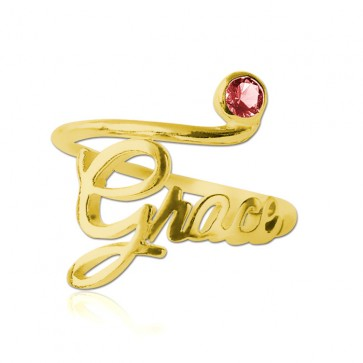 Gold plated Birthstone Name Ring