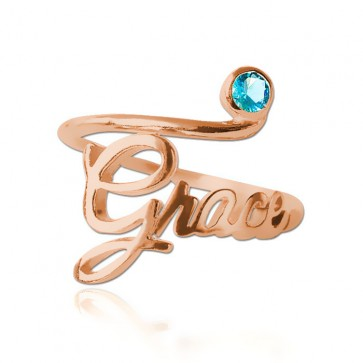 Rose Gold plated Birthstone Name Ring