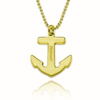 Personalized  Anchor Necklace With Any Name Engraved  in Gold Plated