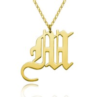 Old English Initial Necklace in Gold Plated