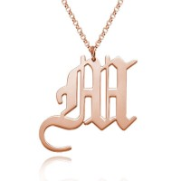 Custom Old English Initial Necklace in Rose Gold Plated