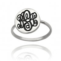 Sterling Silver Initial Monogram Ring