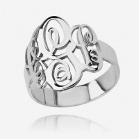 Sterling Silver Personalized Initials Monogram Ring