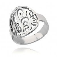 Sterling Silver Circle Initials Monogram Ring