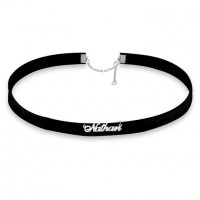 Personalized Black Velvet  Choker with Name in Silver