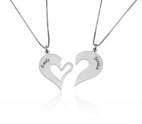 Breakable Heart Necklace for Couples in Sterling Silver