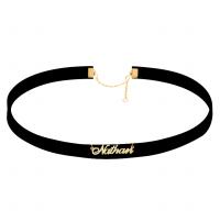 Custom Black Velvet  Choker with Name in Gold
